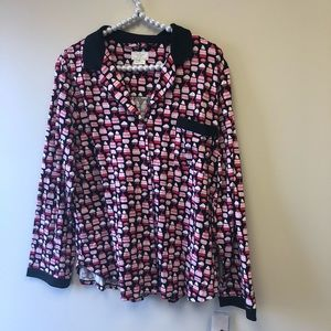 NWT Kate Spade Cupcake Pajama Long Sleeve Shirt